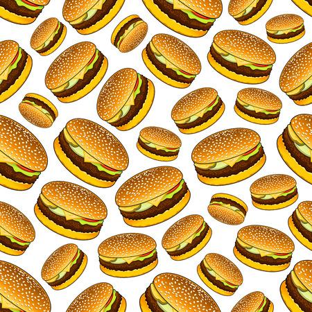 Seamless sandwiches à emporter pour le déjeuner avec des petits pains de sésame, boeuf grillé, marinades, rondelles d'oignon, les tomates et motif de fromage sur fond blanc. Utilisez que la restauration rapide, le thème du déjeuner d'affaires ou un café design d'intérieur