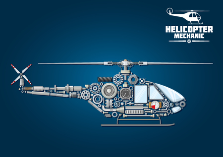 the shaft: Helicopter symbol with mechanical detailed silhouette of rotorcraft, composed of drive shaft and rotor head with blades, cabin and landing windows, tail rotor, skid, transmission systems, reduction gears, bearings, position lights, absorbers, fasteners an Illustration