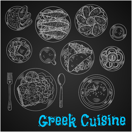 appetizers: Chalkboard restaurant menu of greek cuisine symbol with chalk sketched pork gyros with french fries in pita bread, fried cheese saganaki with potatoes, grilled sardines and mussels, fried squid, fresh feta, scrambled eggs, tripe soup and cups of frappe an Illustration