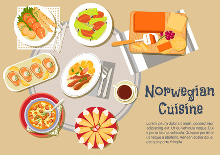 open topped: Norwegian Christmas dinner flat icon of cheese plate with brown brunost and jarlsberg cheese, open sandwiches, topped with salmon, lamb ribs with swede mash and potatoes, salmon steaks, served with pancakes, potato dumplings, beef stew and cakes krumkake