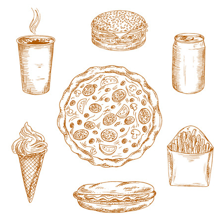 puffy: Sketched fast food dishes icons for takeaway menu or kitchen accessories design usage with cheeseburger, hot dog, cup of coffee, box of french fries, can of soda and puffy pizza topped with salami, olives and mushrooms