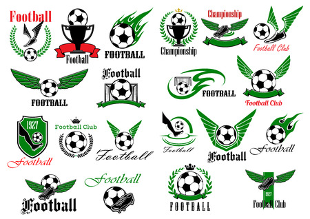 Winged football or soccer balls and shoes with trophies and gates signs for sporting club, team or competition design framed by heraldic shields and laurel wreaths, ribbon banners and flames