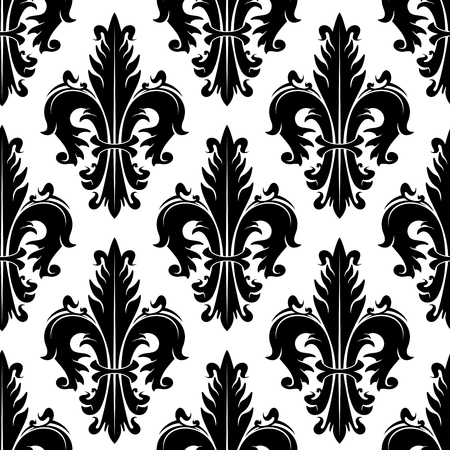 design interior: Black and white ornamental fleur-de-lis background for heraldry theme or vintage interior design with seamless pattern of fluffy spiky leaves with swirls Illustration
