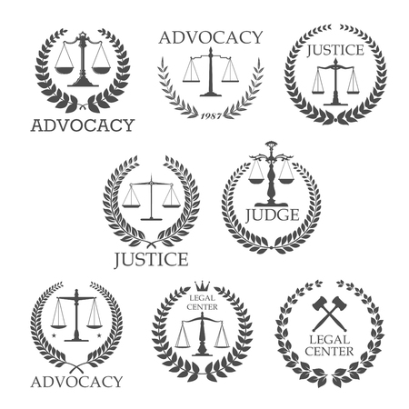 justice: Legal protection and lawyer services design templates with crossed judge gavels and scales of justice, framed by laurel wreaths and text Advocacy, Justice, Judge, Legal Center Illustration