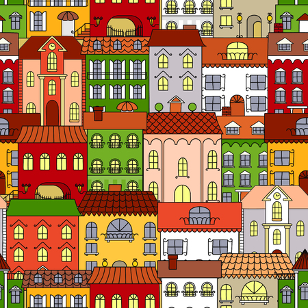 arched: Retro seamless houses of old town streets pattern with sunny colorful facades, vintage forged street lanterns, ladders and awnings, arched windows and brick chimneys. Use as travel or real estate background design Illustration