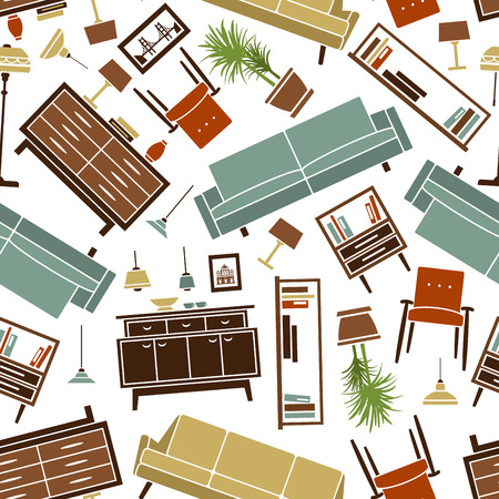 furnishing: Retro pattern of colorful household furnishing with seamless flat illustrations of soft and cabinet furnitures, interior accessories and lamps, randomly scattered over white background. Great for wallpaper or scrapbook page backdrop design usage Illustration