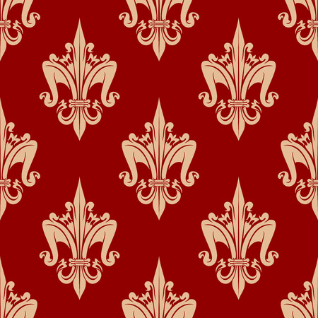 adornment: Decorative stylized fleur-de-lis pattern with delicate beige seamless ornament of french royal heraldic lilies over bright red background. May be use as vintage interior or wallpaper design Illustration