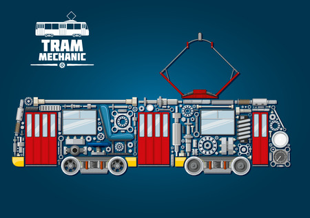 axles: Town tram mechanics icon for public transportation service design usage with tramcar made up of mechanical gears, doors and windows, pantograph and motor bogies, steel wheels and absorbers, axles and bearings, headlights, valves and gauges
