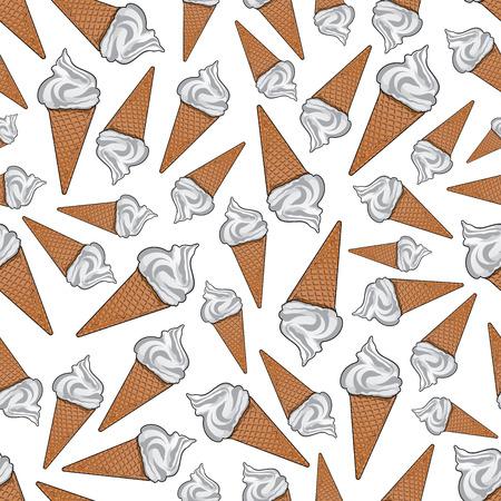 テイクアウト バニラアイス クリームの背景。シュガー ワッフル コーンのおいしい風通しの良いイタリアン ジェラートのシームレスなパターンを持