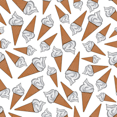 Takeaway vanilla ice cream background. For fast food dessert or cafe menu design usage with seamless pattern of delicious airy italian gelato in sugar waffle cones Çizim