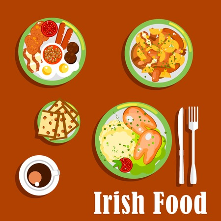 root vegetables: Traditional irish breakfast icon with fried eggs and sausages, baked beans and tomatoes, meat and root vegetables stew, mashed potato topped with boiled pigs feet and cup of coffee with raisin bread barmbrack. Flat style Illustration