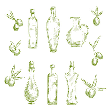 salad dressing: Retro sketch drawings of wholesome organic olive oil in decorative figured glass bottles with cork stoppers and old fashioned jug, flanked by fresh olive fruits. Agriculture or healthy nutrition theme design usage Illustration
