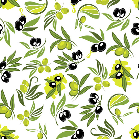 oil crops: Seamless fresh branches of olive tree pattern with leafy twigs, green and black olive fruits and drops of olive oil over white background. Use as healthy vegetarian nutrition theme or food packaging design