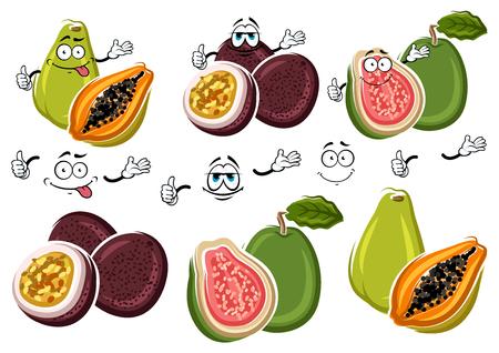 flavorful: Cute cartoon tropical guava, flavorful papaya and purple passion fruit characters. Exotic fruits for fresh juice and cocktail menu or agriculture harvest design usage