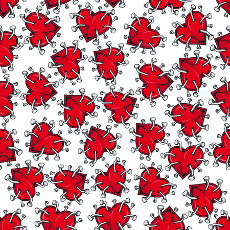 pierce: Cartoon seamless pattern of broken hearts for unhappy love, healthcare and scrapbook page backdrop design with bright red heart pierced by iron nails with curved heads on white background Illustration