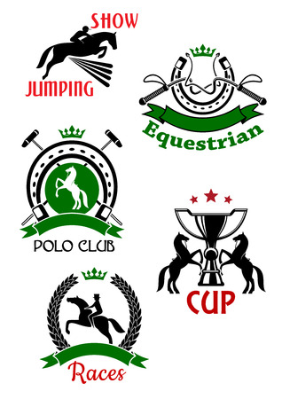 tourney: Horse races, show jumping, polo club and equestrian sport competitions symbols of jumping and rearing up horses with riders, trophy cup, dressage whips and mallets framed by horseshoes and laurel wreath with ribbon banners, stars and crowns