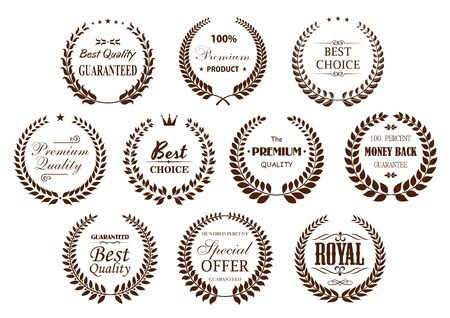 adorned: Premium quality guarantee laurel wreaths icons with brown branches, arranged into circle frames with text Best Choice and Special Offer, Premium Product and Money Back Guarantee, adorned by stars, crowns and vintage text dividers