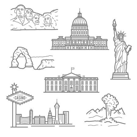Beliebte nationale Wahrzeichen von USA für den Tourismus oder die Reiseplanung Design mit dünnen linearen Freiheitsstatue, Casinos von Las Vegas, Capitol, Weißes Haus, Mount Rushmore, Arches National Park und Geysir im Yellowstone Park