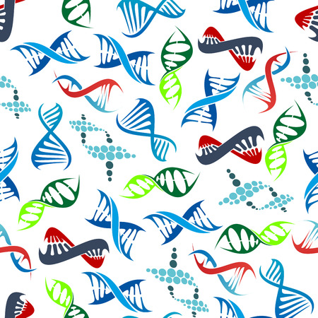 scientific research: Colorful seamless human DNA helices pattern over white background with randomly scattered abstract modern molecule models. May be use as scientific research, health care or genetic science theme design