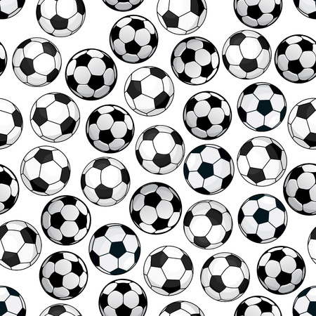 club soccer: Sporting themed pattern of football game with bright cartoon seamless soccer balls over white background. Use as championship backdrop or sport club concept design