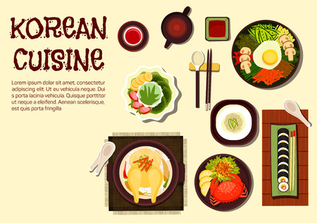 Colorful summer dishes of korean cuisine icon with chicken ginseng soup, sushi rolls kimbap, rice bibimbap topped with vegetables and fried egg, cold noodles, spicy crab and jujube tea with shaved ice dessert topped with strawberry, kiwi and banana fruits