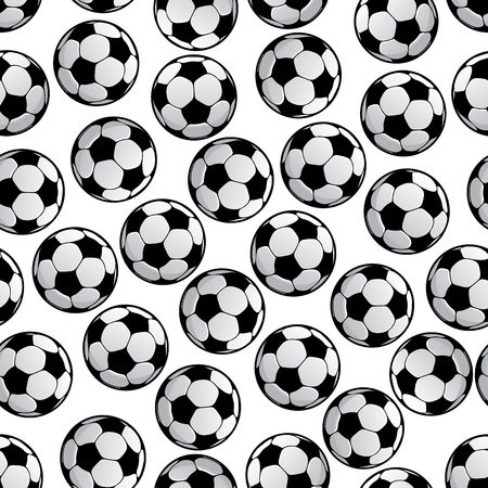 sporting: Sporting seamless pattern of football or soccer balls. For sport game or competition theme and scrapbook page backdrop design with traditional tracery of white hexagons and black pentagons