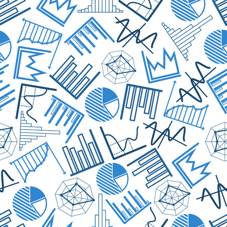 histograms: Blue business charts and financial graphs seamless pattern over white background with pie and radar charts, bar and line graphs, histograms and diagrams. Use as presentation or infographics backdrop design