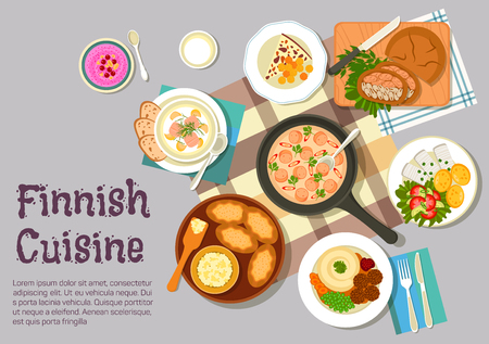 finnish: Finnish family sunday breakfast icon with flat symbols of creamy sausage sauce, meatballs with mashed potato, pickled herring with boiled potatoes and vegetable salad, karelian rice pies with egg butter, fish pie in rye bread, salmon soup, bread cheese an