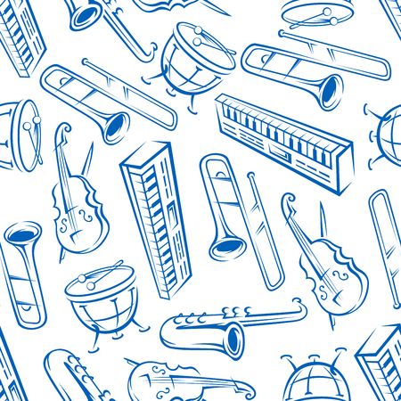 trombones: Jazz orchestra musical instruments background with seamless pattern of blue sketchy saxophones, trombones, timpani drums, cellos and synthesizers. May be use as music, arts theme or scrapbook page backdrop design
