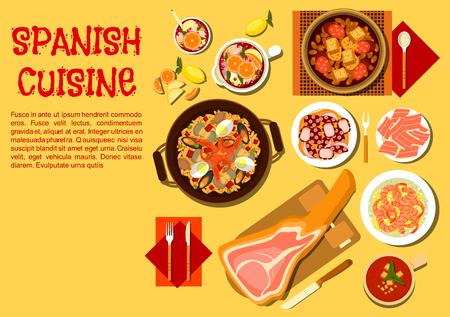 Spaanse paella flat icon geserveerd met Iberische ham op een jamonera, gazpacho, boon stamppot met rookworst, knoflook garnalen, gestoofde octopus en werper van de sangria