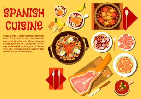 sangria: Spanish seafood paella flat icon served with iberian ham on a jamonera, gazpacho, bean stew with smoked sausages, garlic shrimps, braised octopus and pitcher of sangria Illustration