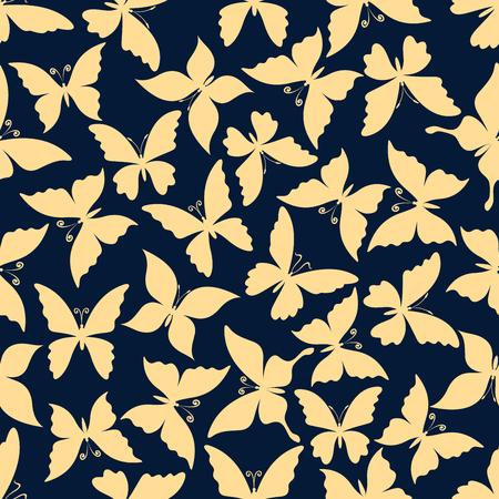 飛んでいる蝶のロマンチックなパターン。生地プリントやスクラップ ブック ページ背景デザイン用の穏やかな翼と青い背景上巻き毛のアンテナを持つ蝶のシームレスな黄色シルエット 写真素材 - 56414628