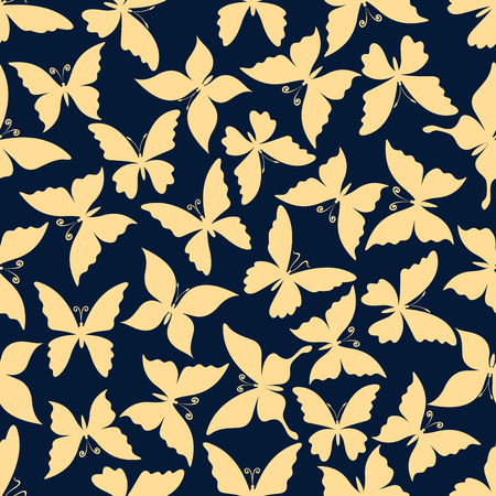 Flying butterflies romantic pattern. For fabric print or scrapbook page backdrop design with seamless yellow silhouettes of butterflies with gentle wings and curly antennae over blue background Stock Vector - 56414628