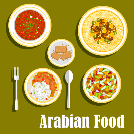 bell tomato: Various dishes of regional arab cuisines icon with beef and beans stew with rice, bread salad fattoush with fresh vegetables, hummus with olive oil, beans and spices, tomato and bell pepper warm salad matbucha and cakes basbousa with nuts. Flat style
