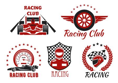 Racing Club y los deportes de motor concursos símbolos con los coches de carreras de ruedas abiertas, corredor, casco protector y rueda alada, enmarcados por velocímetro, compitiendo con la bandera a cuadros, escudo, corona de laurel y las estrellas Ilustración de vector