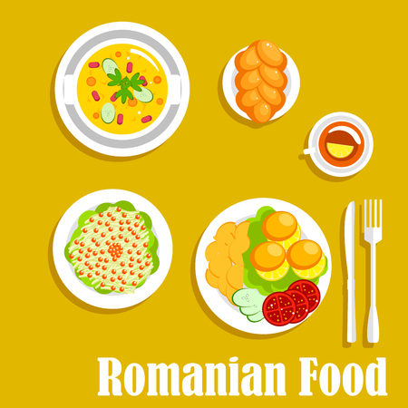 topped: Romanian vegetarian dinner icon with cornmeal mush mamaliga served with fried potatoes and fresh tomatoes and cucumbers on the side, pickled cabbage salad, topped with cranberries fruits, vegetarian bean stew and cup of tea with braided bun. Flat style