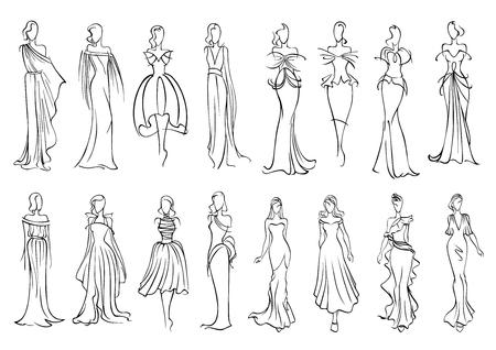 ファッションは、ノースリーブ長いイブニング ・ ドレスおよび魅力的なカクテル ドレスでエレガントな若い女性とスケッチのシルエットをモデル