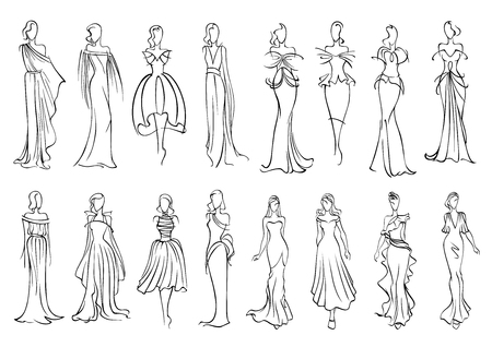 supermodel: Fashion models sketched silhouettes with elegant young women in long sleeveless evening gowns and charming cocktail dresses. Fashion industry or shopping design usage