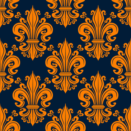 Orange ornamental fleur-de-lis background for monarchy theme or vintage interior design. Seamless pattern of decorative lily flowers and buds tied into elegant bunches on dark blue background