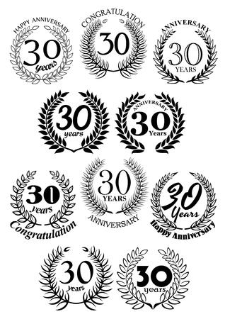 30th: Anniversary heraldic frames retro symbols with black laurel wreaths for 30th birthday celebration, greeting card or awarding design usage Illustration