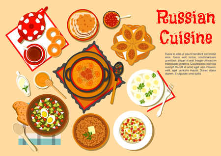 blini: Traditional russian dishes and desserts with cabbage soup shchi and meat pies, cold soup okroshka and potato knishes, buckwheat porridge and olivier salad, black tea served with thin pancakes blini and bagels, cranberry jam, honey and sour cream