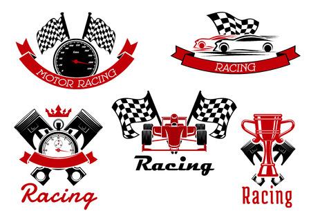 Corse d'auto sportive icone di auto sportive e auto da corsa a ruote scoperte, trofeo coppa, tachimetro e cronometro, pistoni e le bandiere da corsa con striscioni nastro rosso e corona