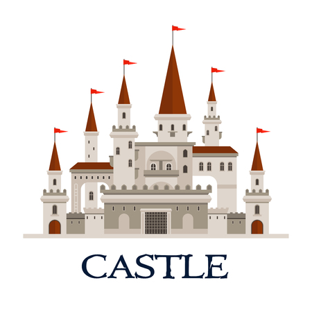 fortress: Gothic castle fortress icon with arcade palace with arched windows, balconies and terrace, towers and turrets with flags, gatehouse with lifting forged lattice of the fortress gates