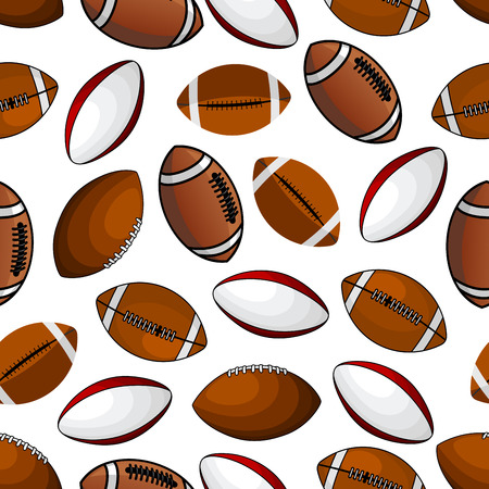 American football and rugby balls seamless pattern of classic leather balls with colorful stripes and lacings over white background. Great for sporting competition theme or fabric design usage