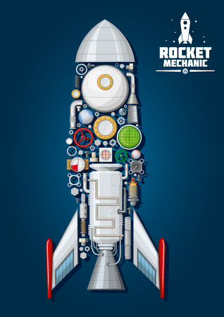 chamber of the engine: Rocket mechanics symbol of modern spaceship with detailed engine parts and  body structure such as nose cone, fins and access hatch, nozzle and portholes, combustion chamber and pumps, fuel tank and gears, colorful gauges and valve handwheels, radar and f