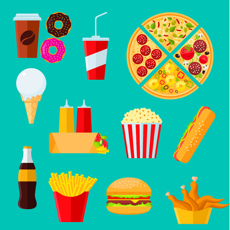 tortilla wrap: Fast food takeaway menu icon with flat symbols of cheeseburger and hot dog sandwiches, pizza, coffee and soda drinks, tortilla wrap with vegetables and sauces, boxes of french fries and fried chicken, donuts, ice cream and popcorn Illustration