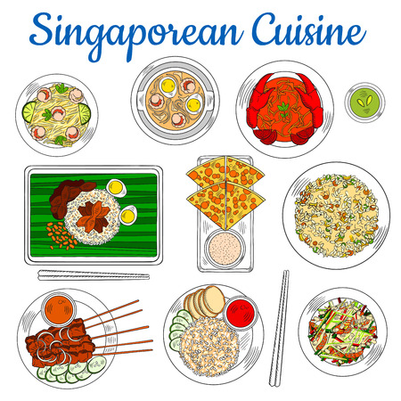 fried shrimp: Colorful national dishes of singaporean cuisine sketch symbol with popular chilli crab, fried rice and beef satay, flatbread with tartar sauce, spicy shrimp soup and fried noodles, chicken liver with rice and vegetable salad with smoked salmon