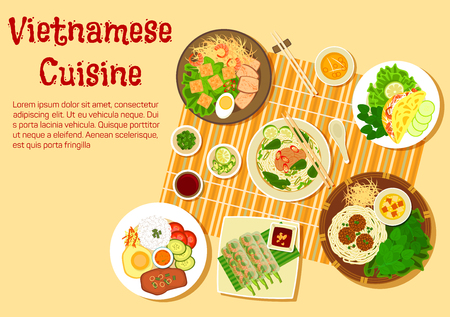 pork chop: Vietnamese cuisine flat icon with top view of family dinner with beef and rice vermicelli soup bun bo, rice thin pancakes, shrimp salad rolls, broken rice com tam with vermicelli cakes, meatballs with noodles and pork chop with egg and rice, various of fr Illustration