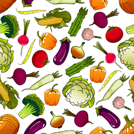 pungent: Healthy fresh vegetables background with cartoon seamless pattern of ripe tomatoes, eggplants and beans, sweet corns and bell peppers, pumpkins and beets, green broccolies, asparagus and cauliflowers, pungent onions, garlic and radishes