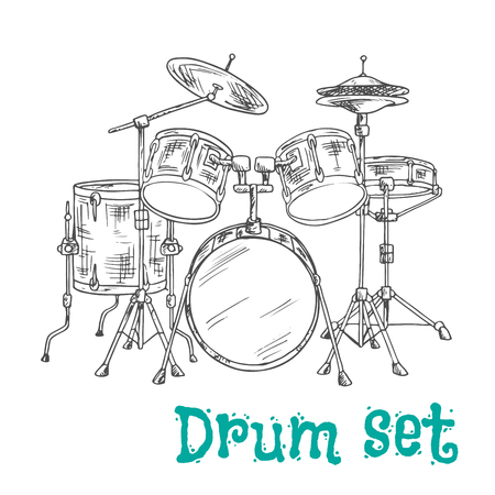 drum set: Sketched five piece drum set symbol of modern percussion instrument with bass drum and tom toms in the center of kit, snare and floor drums on both sides, supplemented by crash and hi hat cymbals
